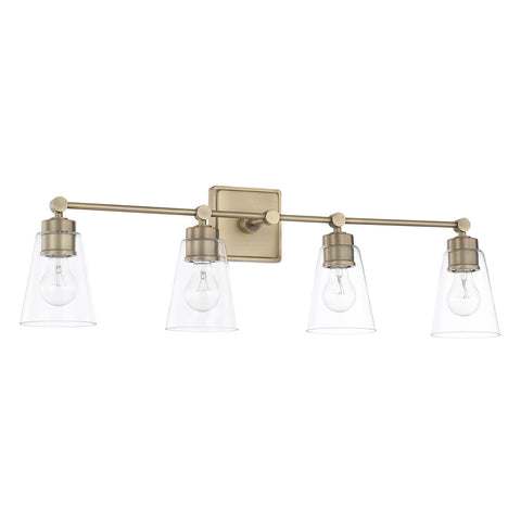 Enright 4 Light Vanity in Aged Brass with Clear Cone Glass Shades by Capital Lighting 121841AD-432