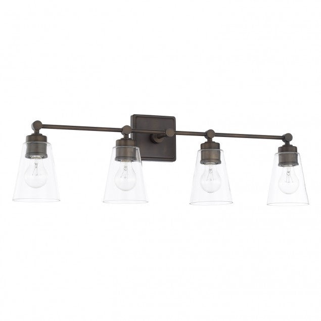 Enright 4 Light Vanity in Old Bronze with Clear Cone Glass Shades by Capital Lighting 121841AD-432