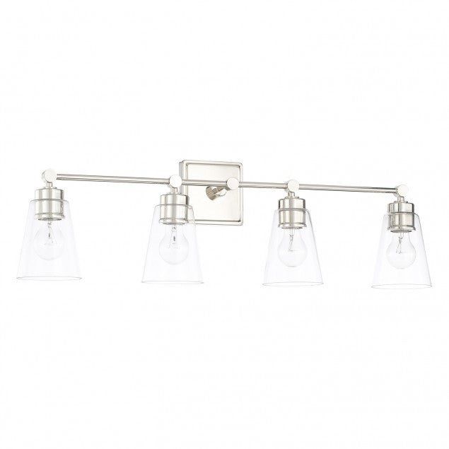 Enright 4 Light Vanity in Polished Nickel with Clear Cone Glass Shades by Capital Lighting 121841PN-432