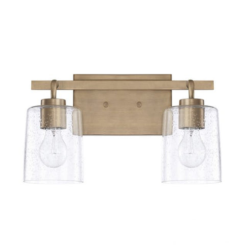 Greyson 2 Light Vanity in Aged Brass with Clear Seeded Glass Shades by Capital Lighting 128521AD-449