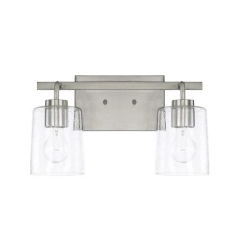 Greyson 2 Light Vanity in Brushed Nickel with Clear Seeded Glass Shades by Capital Lighting 128521BN-449
