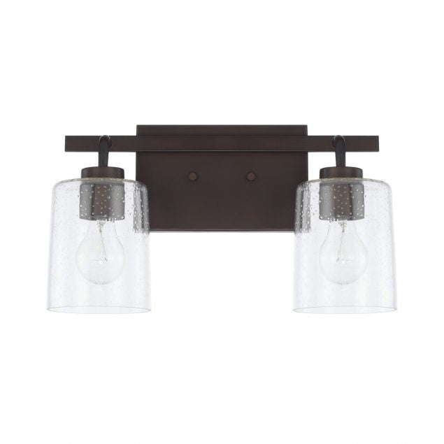 Greyson 2 Light Vanity in Bronze with Clear Seeded Glass Shades by Capital Lighting 128521BZ-449