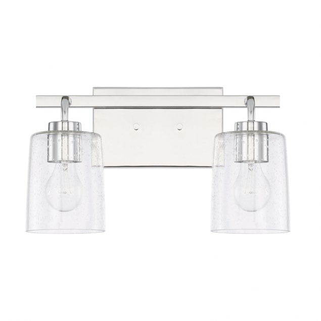 Greyson 2 Light Vanity in Chrome with Clear Seeded Glass Shades by Capital Lighting 128521CH-449