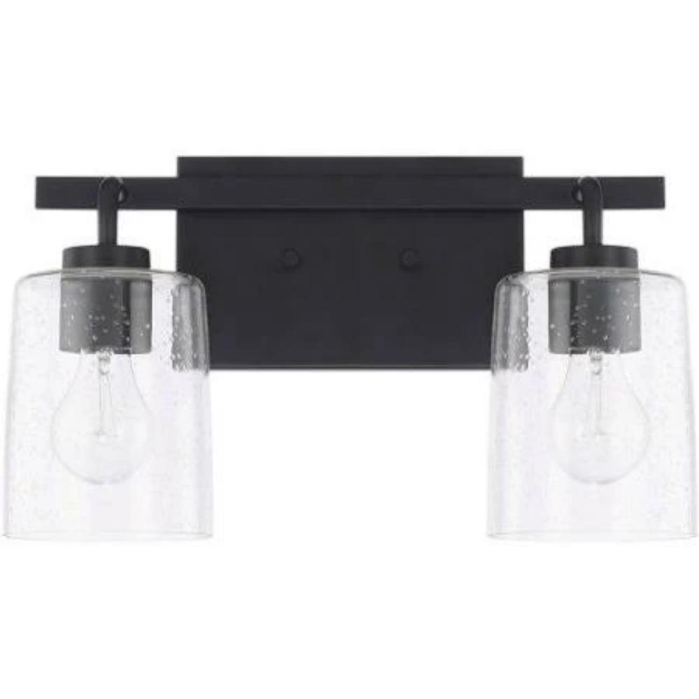 Greyson 2 Light Vanity in Matte Black with Clear Seeded Glass Shades by Capital Lighting 128521MB-449