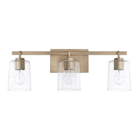 Greyson 3 Light Vanity in Aged Brass with Clear Seeded Glass Shades by Capital Lighting 128531AD-449