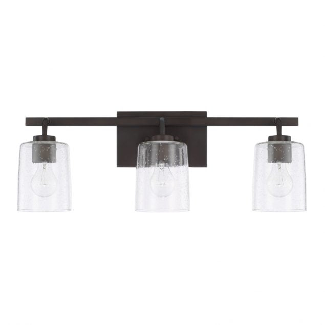 Greyson 3 Light Vanity in Matte Black with Clear Seeded Glass Shades by Capital Lighting 128531MB-449