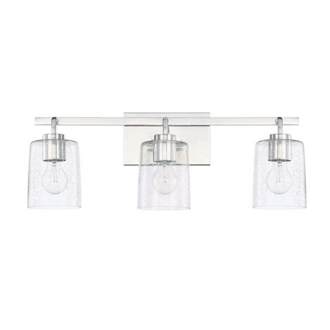 Greyson 3 Light Vanity in Chrome with Clear Seeded Glass Shades by Capital Lighting 128531CH-449