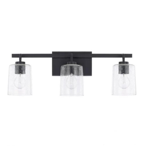 Greyson 3 Light Vanity in Bronze with Clear Seeded Glass Shades by Capital Lighting 128531BZ-449