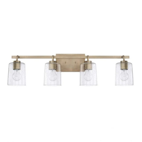Greyson 4 Light Vanity in Aged Brass with Clear Seeded Glass Shades by Capital Lighting 128541AD-449