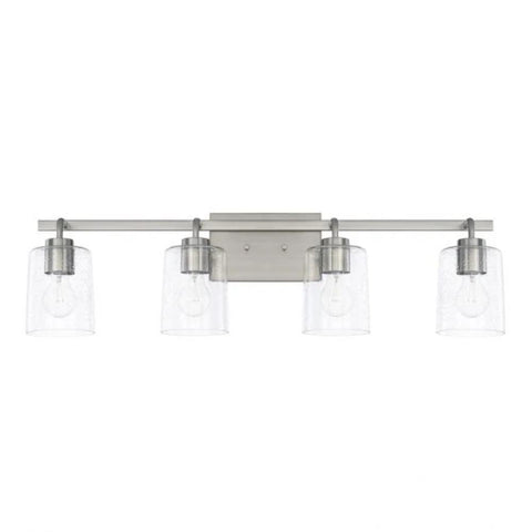 Greyson 4 Light Vanity in Brushed Nickel with Clear Seeded Glass Shades by Capital Lighting 128541BN-449
