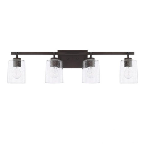 Greyson 4 Light Vanity in Bronze with Clear Seeded Glass Shades by Capital Lighting 128541BZ-449