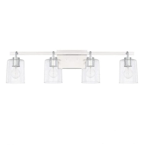 Greyson 4 Light Vanity in Chrome with Clear Seeded Glass Shades by Capital Lighting 128541CH-449