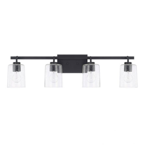 Greyson 4 Light Vanity in Matte Black with Clear Seeded Glass Shades by Capital Lighting 128541MB-449
