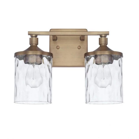 Colton 2 Light Vanity in Aged Brass with Clear Glass Water Shades by Capital Lighting 128821AD-451