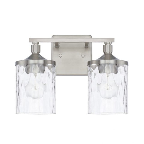 Colton 2 Light Vanity in Brushed Nickel with Clear Glass Water Shades by Capital Lighting 128821BN-451