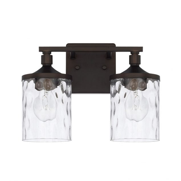 Colton 2 Light Vanity in Bronze with Clear Glass Water Shades by Capital Lighting 128821BZ-451