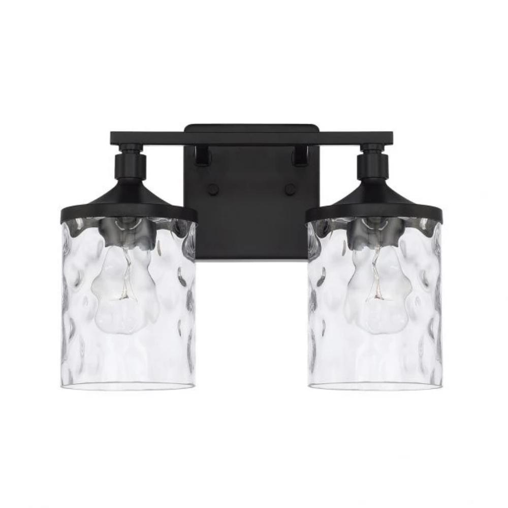 Colton 2 Light Vanity in Matte Black with Clear Water Glass Shades by Capital Lighting 128821MB-451