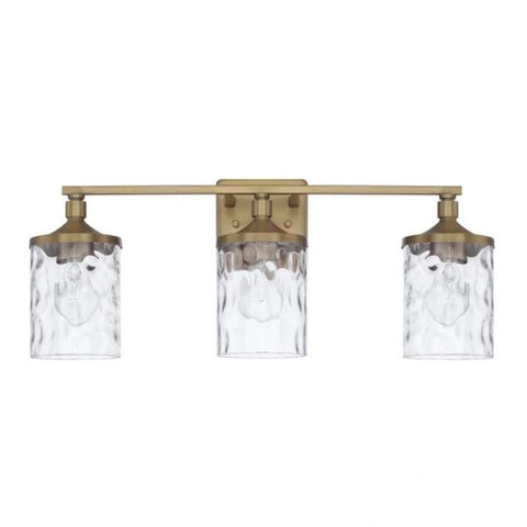 Colton 3 Light Vanity in Aged Brass with Clear Water Glass Shades by Capital Lighting 128831AD-451