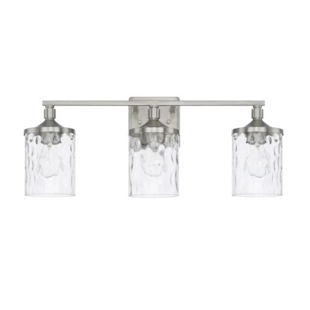 Colton 3 Light Vanity in Brushed Nickel with Clear Water Glass Shades by Capital Lighting 128831BN-451