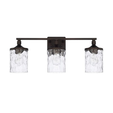 Colton 3 Light Vanity in Bronze with Clear Water Glass Shades by Capital Lighting 128831BZ-451