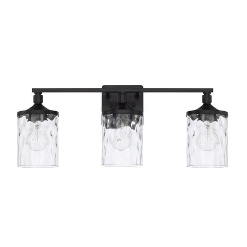Colton 3 Light Vanity in Matte Black with Clear Water Glass Shades by Capital Lighting 128831MB-451