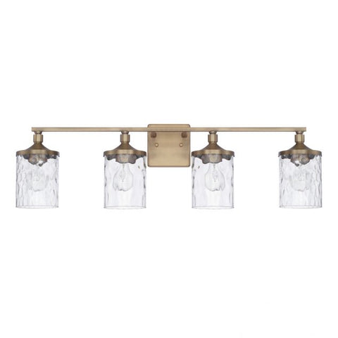 Colton 4 Light Vanity in Aged Brass with Clear Water Glass Shades by Capital Lighting 128841AD-451