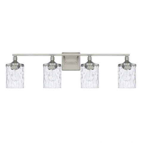 Colton 4 Light Vanity in Brushed Nickel with Clear Water Glass Shades by Capital Lighting 128841BN-451