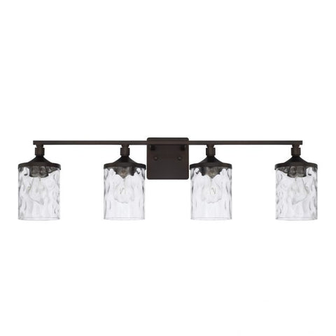 Colton 4 Light Vanity in Bronze with Clear Water Glass Shades by Capital Lighting 128841BZ-451