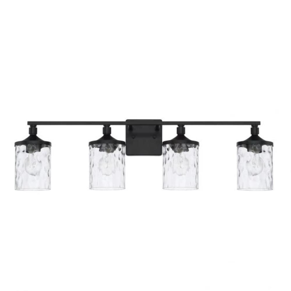 Colton 4 Light Vanity in Matte Black with Clear Water Glass Shades by Capital Lighting 128841MB-451