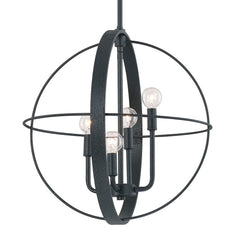Capital Lighting Small 4 Light Urban Orb Pendant in Black Iron 312541BI