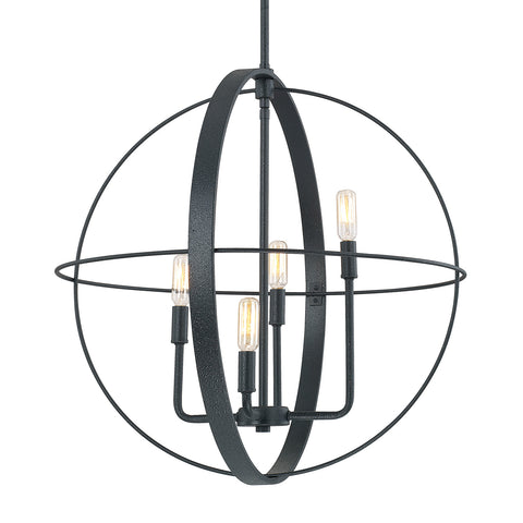 Capital Lighting Large 4 Light Black Iron Orb 312542BI