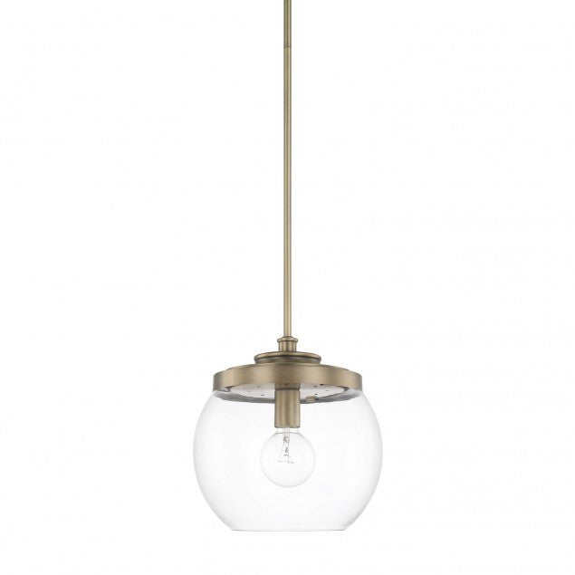 1 Light Mid-Century Pendant in Aged Brass with clear glass round shade by Capital Lighting 321111AD