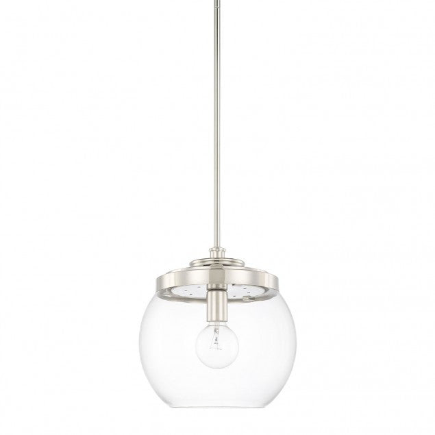 1 Light Mid-Century Pendant in Polished Nickel with clear glass round shade by Capital Lighting 321111PN