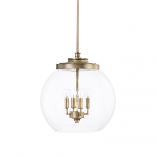 4 Light Mid-Century Pendant in Aged Brass with clear glass round shade by Capital Lighting 321142AD