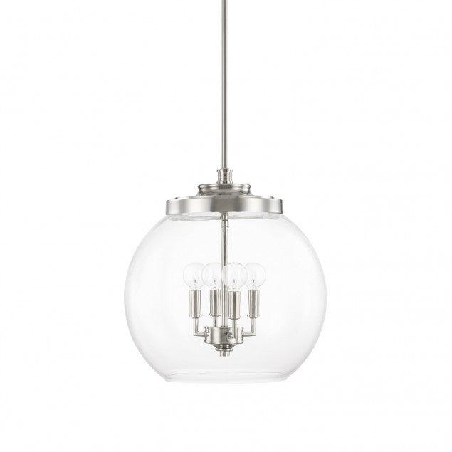 4 Light Mid-Century Pendant in Polished Nickel with clear glass round shade by Capital Lighting 321142PN