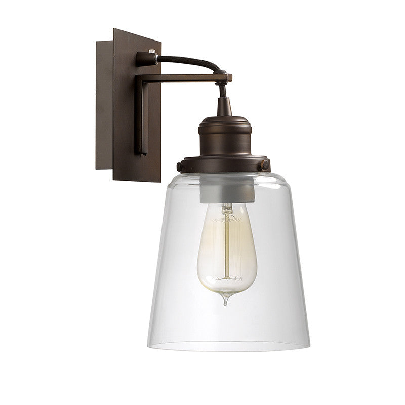Capital Lighting Industrial Glass Sconce in Burnished Bronze with Black Cord 3711BB-135