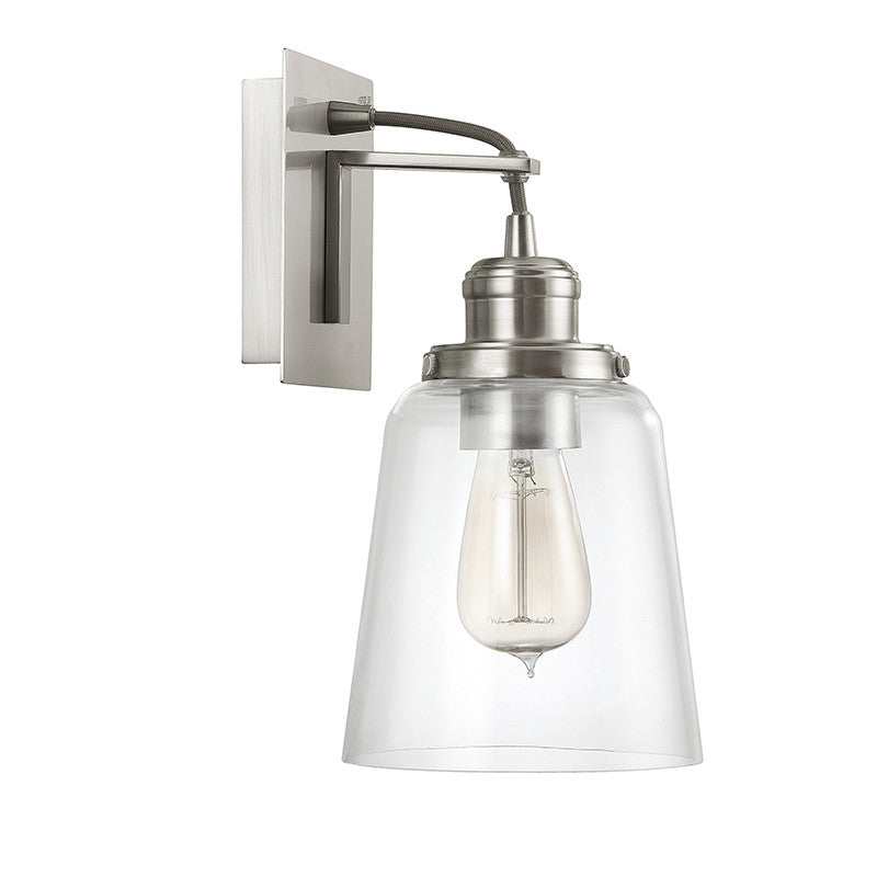 Capital Lighting Industrial Glass Sconce in Brushed Nickel with Black Cord 3711BN-135