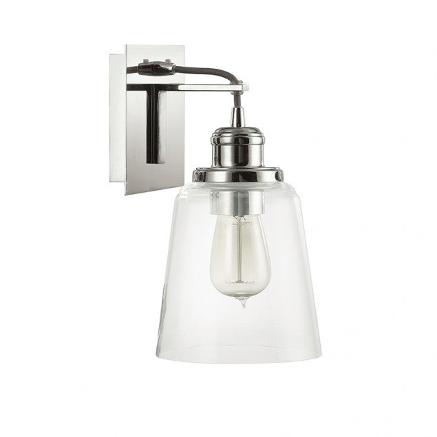 Capital Lighting Industrial Glass Sconce in Polished Nickel with Black Cord 3711PN-135