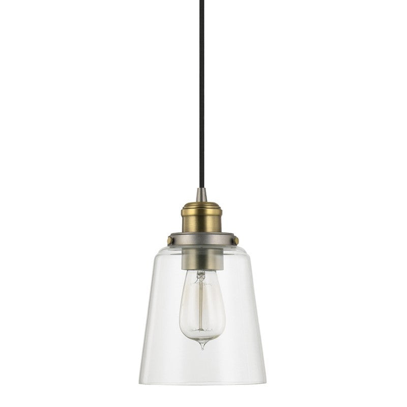 Glass Pendant in Graphite and Aged Brass by Capital Lighting 3718GA-135