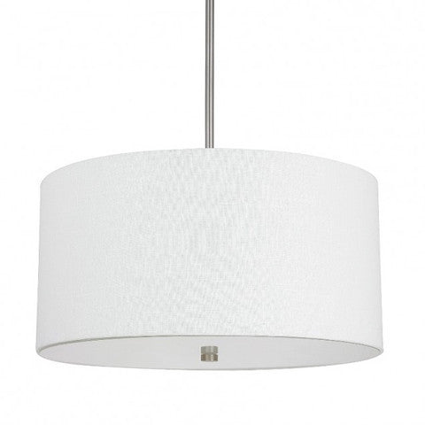 Capital Lighting Loft Drum Pendant in Matte Nickel with White Linen Shade 3922MN-623