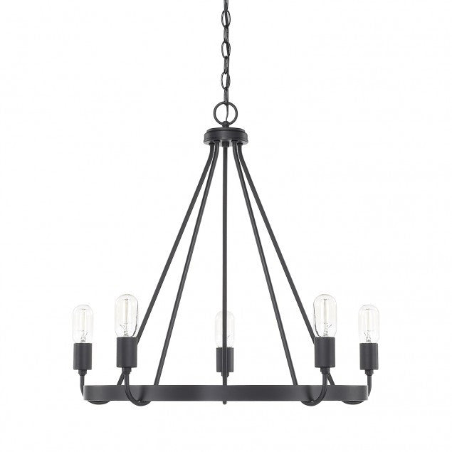 1-Tier Tanner Chandelier in Matte Black by Capital Lighting 420061MB
