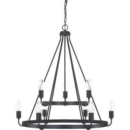 Capital Lighting Tanner 2-Tier Chandelier in Matte Black 420091MB