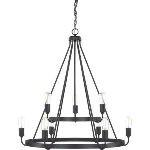 Capital Lighting Matte Black Tanner 2 Tier Chandelier 420091MB