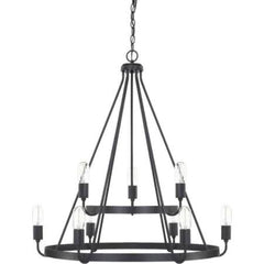 2-Tier Matte Black Tanner Chandelier by Capital Lighting 420091MB