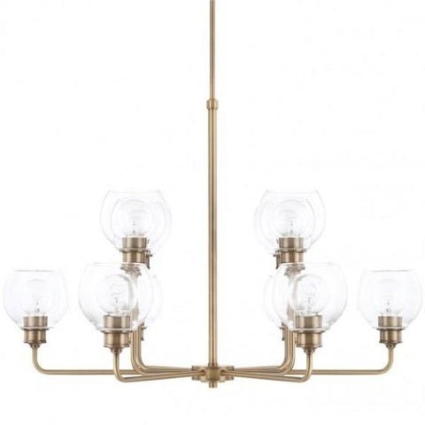 Mid-Century 10 Light Chandelier in Aged Brass with Clear Glass Shades by Capital Lighting 421101AD-426