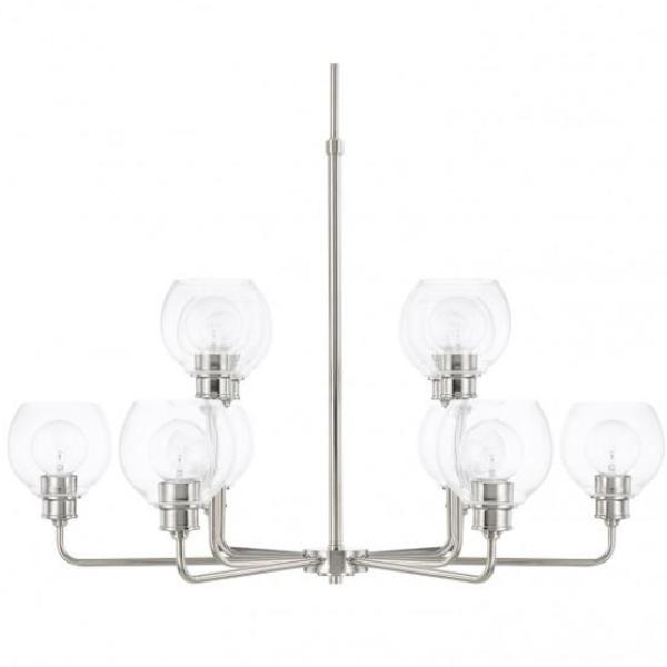 Mid-Century 10 Light Chandelier in Polished Nickel with Clear Glass Shades by Capital Lighting 421101PN-426