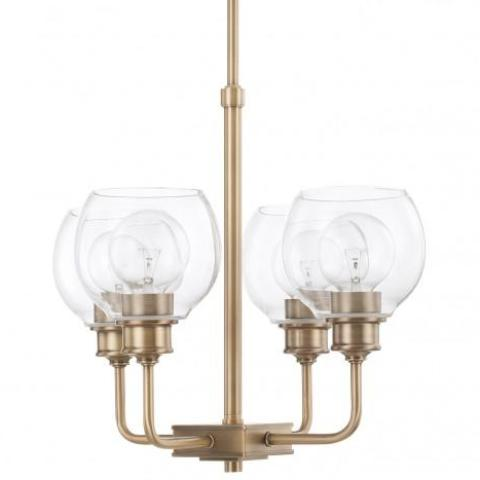 Mid-Century 4 Light Chandelier in Aged Brass with Clear Glass Shades by Capital Lighting 421141AD-426
