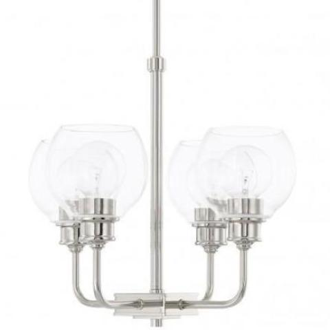 Mid-Century 4 Light Chandelier in Polished Nickel with Clear Glass Shades by Capital Lighting 421141PN-426