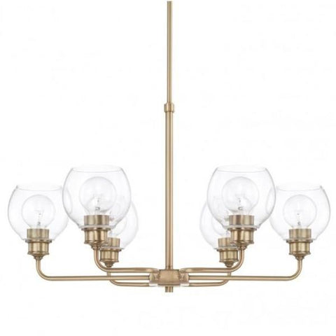Mid-Century 6 Light Chandelier in Aged Brass with Clear Glass Shades by Capital Lighting 421161AD-426