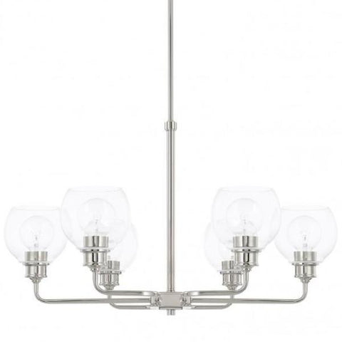 Mid-Century 6 Light Chandelier in Polished Nickel with Clear Glass Shades by Capital Lighting 421161PN-426